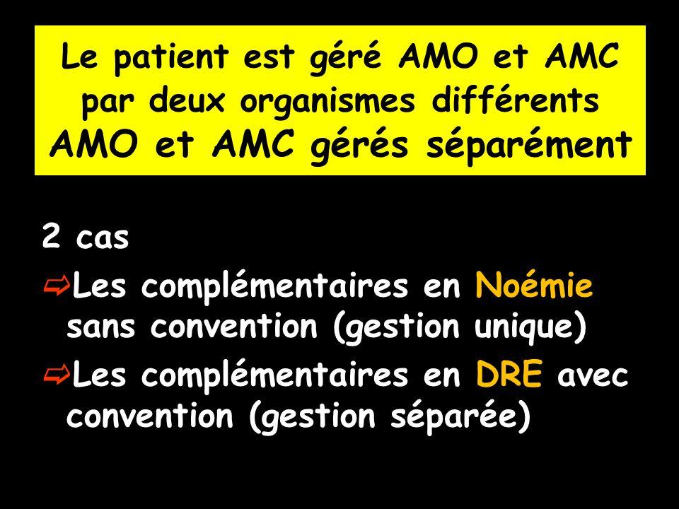 2 cas Les complémentaires en Noémie sans convention (gestion unique) Les complémentaires en DRE avec convention (gestion séparée) Le patient est géré