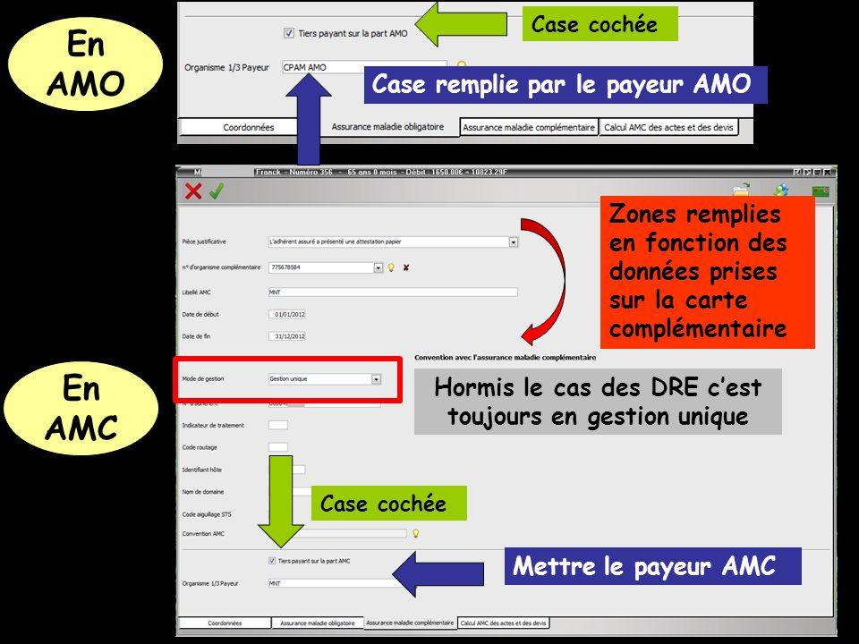 Mettre le payeur AMC Case cochée Zones remplies en fonction des données prises sur la carte complémentaire Case cochée Case remplie par le payeur AMO