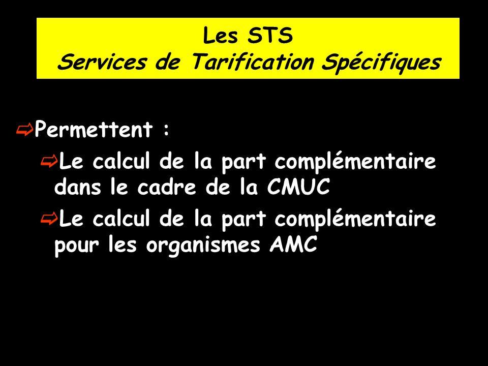 Les STS Services de Tarification Spécifiques Permettent : Le calcul de la part complémentaire dans le cadre de la CMUC Le calcul de la part complément