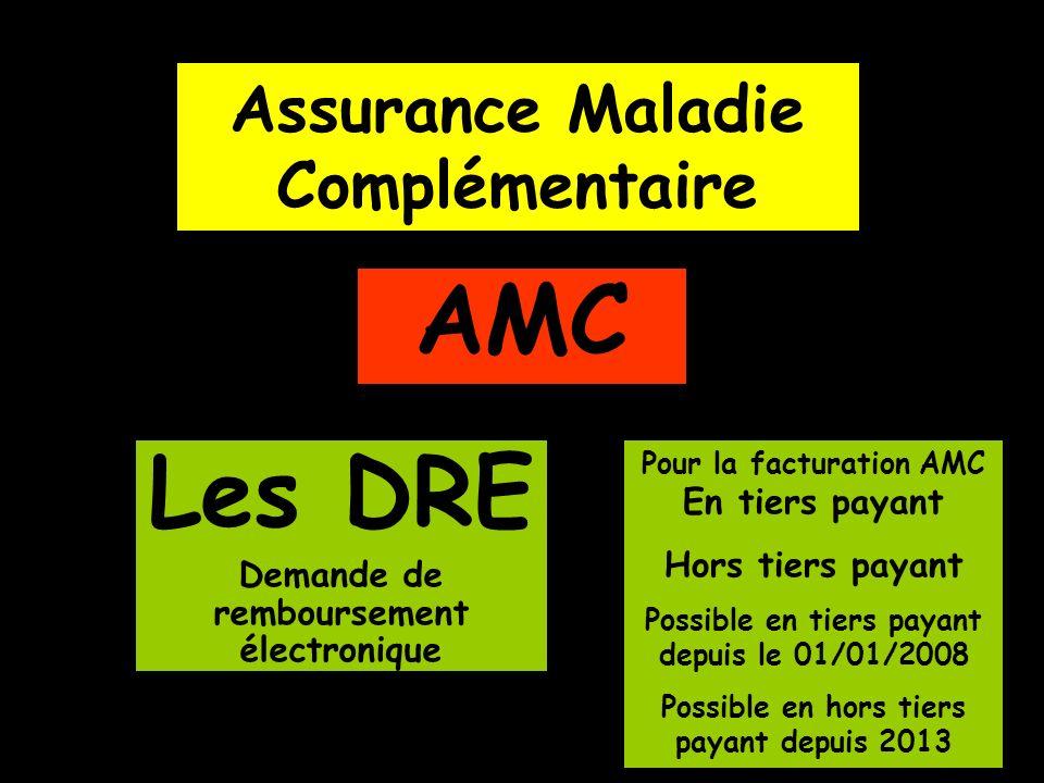 Assurance Maladie Complémentaire AMC Les DRE Demande de remboursement électronique Pour la facturation AMC En tiers payant Hors tiers payant Possible