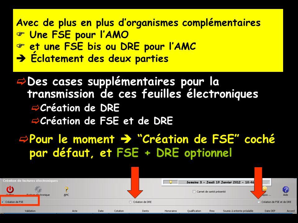 Des cases supplémentaires pour la transmission de ces feuilles électroniques Création de DRE Création de FSE et de DRE Avec de plus en plus dorganisme