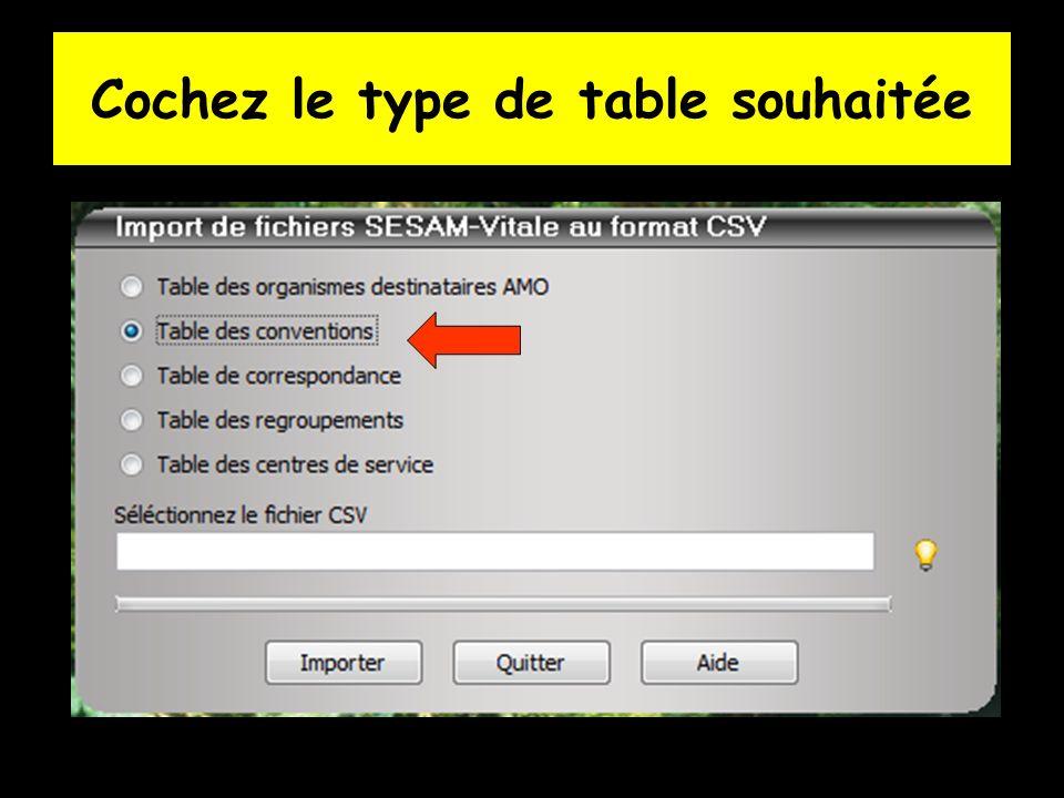 Cochez le type de table souhaitée