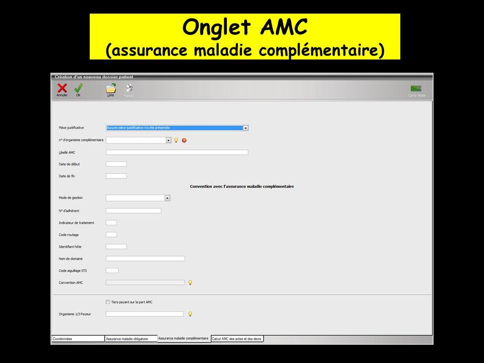 Onglet AMC (assurance maladie complémentaire)