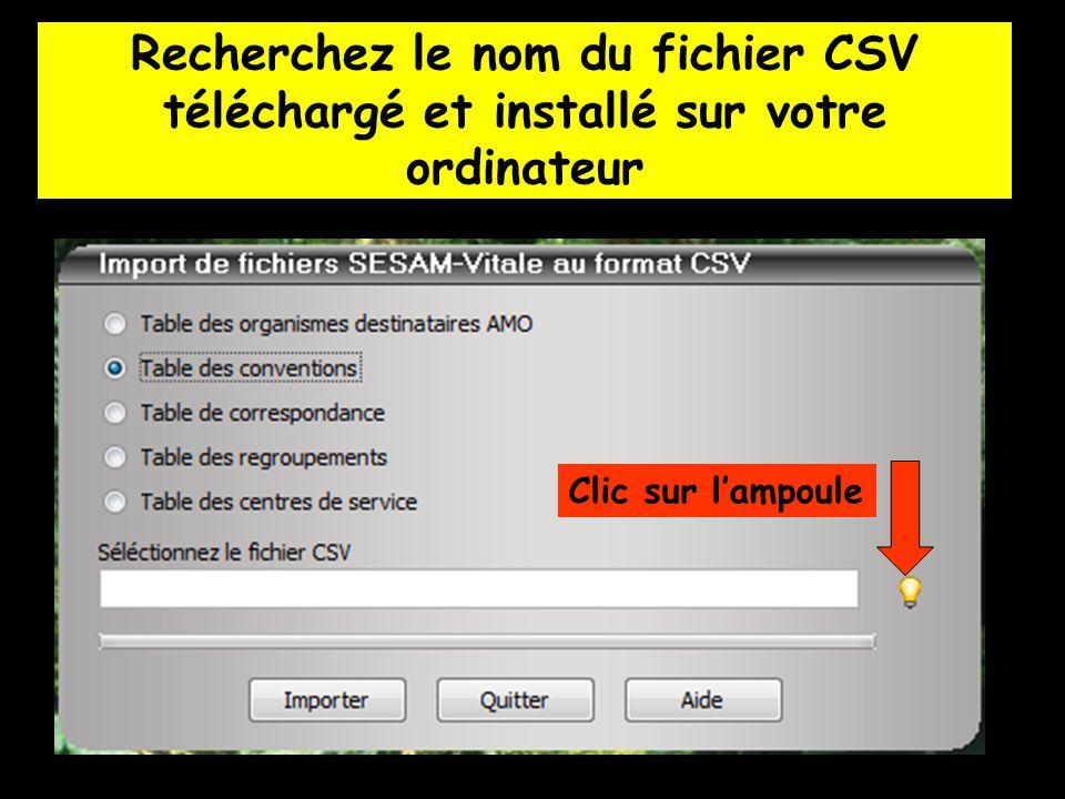Recherchez le nom du fichier CSV téléchargé et installé sur votre ordinateur Clic sur lampoule