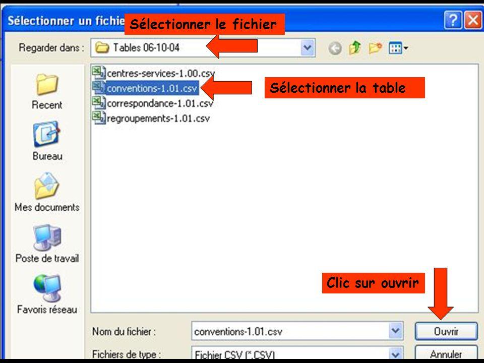 Sélectionner la table Clic sur ouvrir Sélectionner le fichier