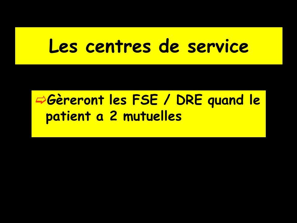 Les centres de service Gèreront les FSE / DRE quand le patient a 2 mutuelles