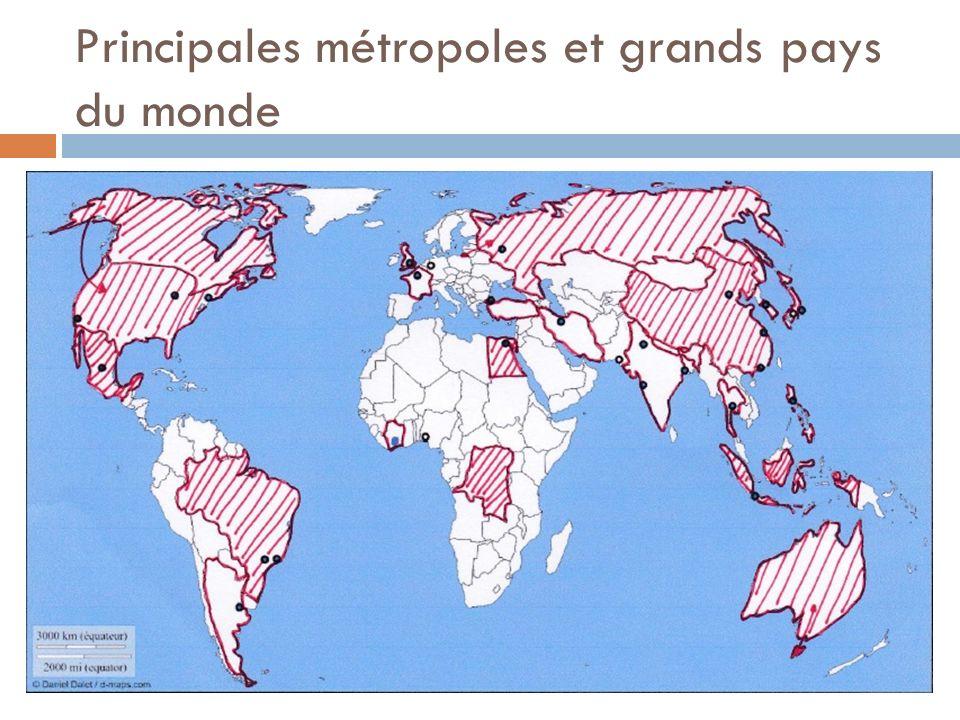 Principales métropoles et grands pays du monde