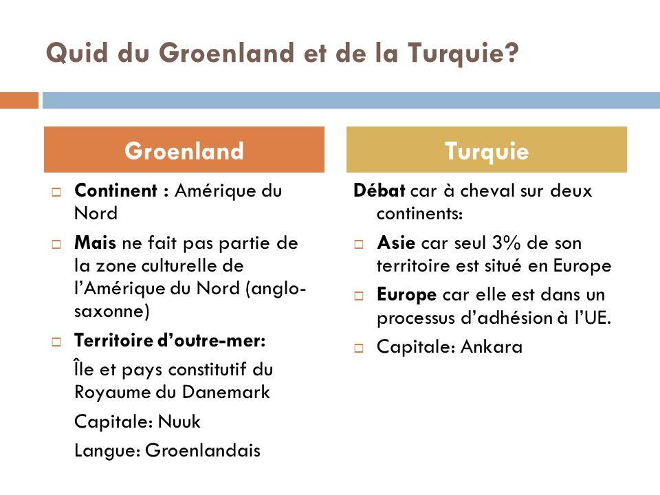 Quid du Groenland et de la Turquie? Continent : Amérique du Nord Mais ne fait pas partie de la zone culturelle de lAmérique du Nord (anglo- saxonne) T