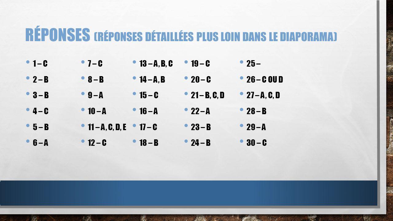 RÉPONSES (RÉPONSES DÉTAILLÉES PLUS LOIN DANS LE DIAPORAMA) 1 – C 2 – B 3 – B 4 – C 5 – B 6 – A 7 – C 8 – B 9 – A 10 – A 11 – A, C, D, E 12 – C 13 – A,