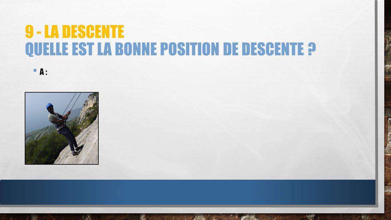 9 - LA DESCENTE QUELLE EST LA BONNE POSITION DE DESCENTE ? A :