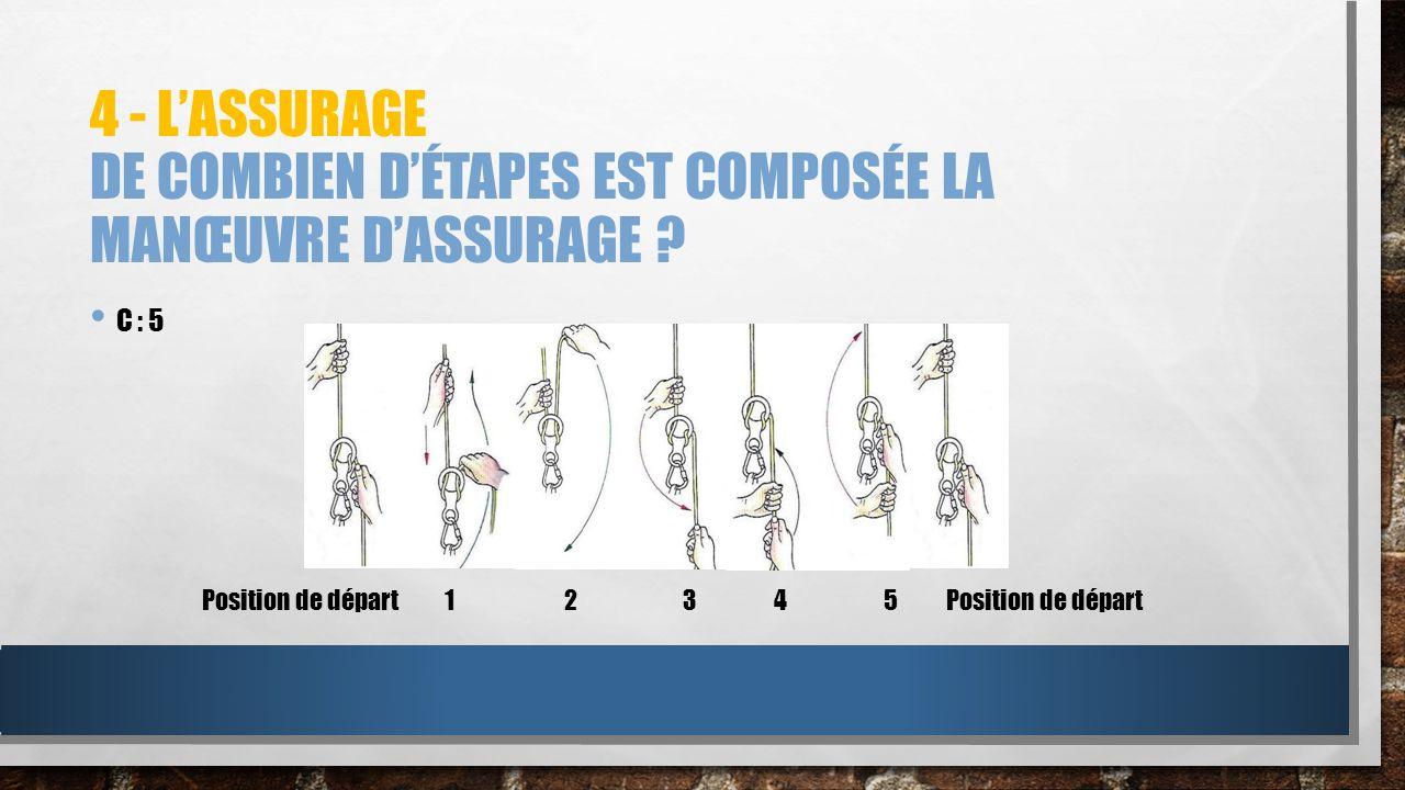 4 - LASSURAGE DE COMBIEN DÉTAPES EST COMPOSÉE LA MANŒUVRE DASSURAGE ? C : 5 1 2 3 4 5Position de départ