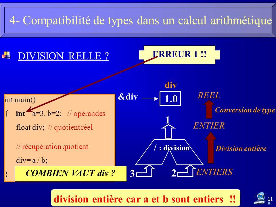 11 DIVISION RELLE ? int main() { inta=3, b=2; // opérandes floatdiv; // quotient réel // récupération quotient div= a / b; } COMBIEN VAUT div ? ERREUR