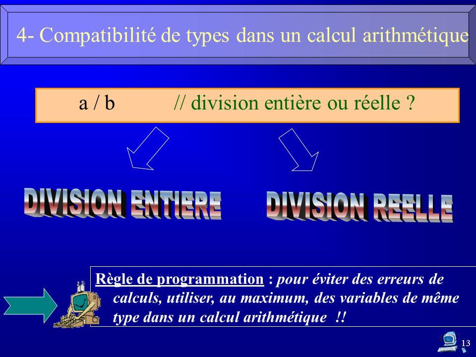 13 a / b // division entière ou réelle ? Règle de programmation : pour éviter des erreurs de calculs, utiliser, au maximum, des variables de même type