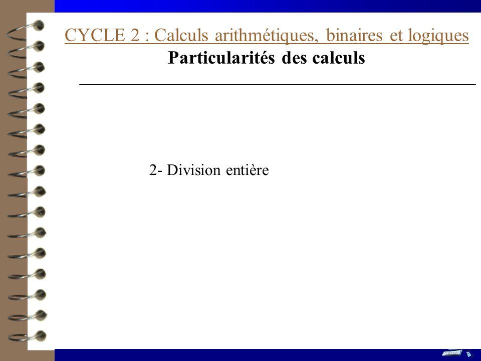 CYCLE 2 : Calculs arithmétiques, binaires et logiques Particularités des calculs 2- Division entière