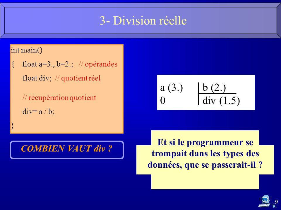 9 int main() { floata=3., b=2.; // opérandes floatdiv; // quotient réel // récupération quotient div= a / b; } COMBIEN VAUT div ? a (3.) b (2.) 0 div