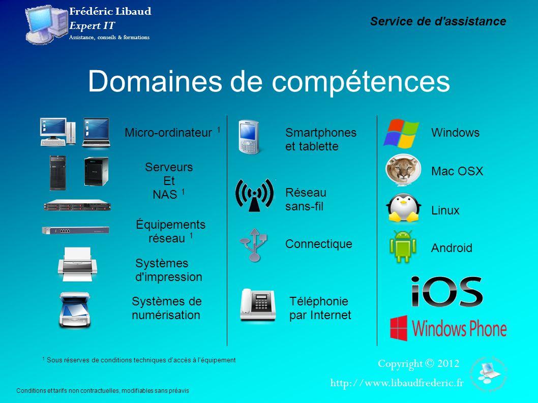 Frédéric Libaud Expert IT Assistance, conseils & formations Copyright © 2012 http://www.libaudfrederic.fr Domaines de compétences Micro-ordinateur 1 S