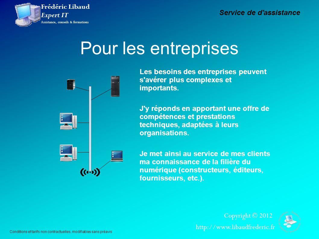 Frédéric Libaud Expert IT Assistance, conseils & formations Copyright © 2012 http://www.libaudfrederic.fr Pour les entreprises Service de d'assistance