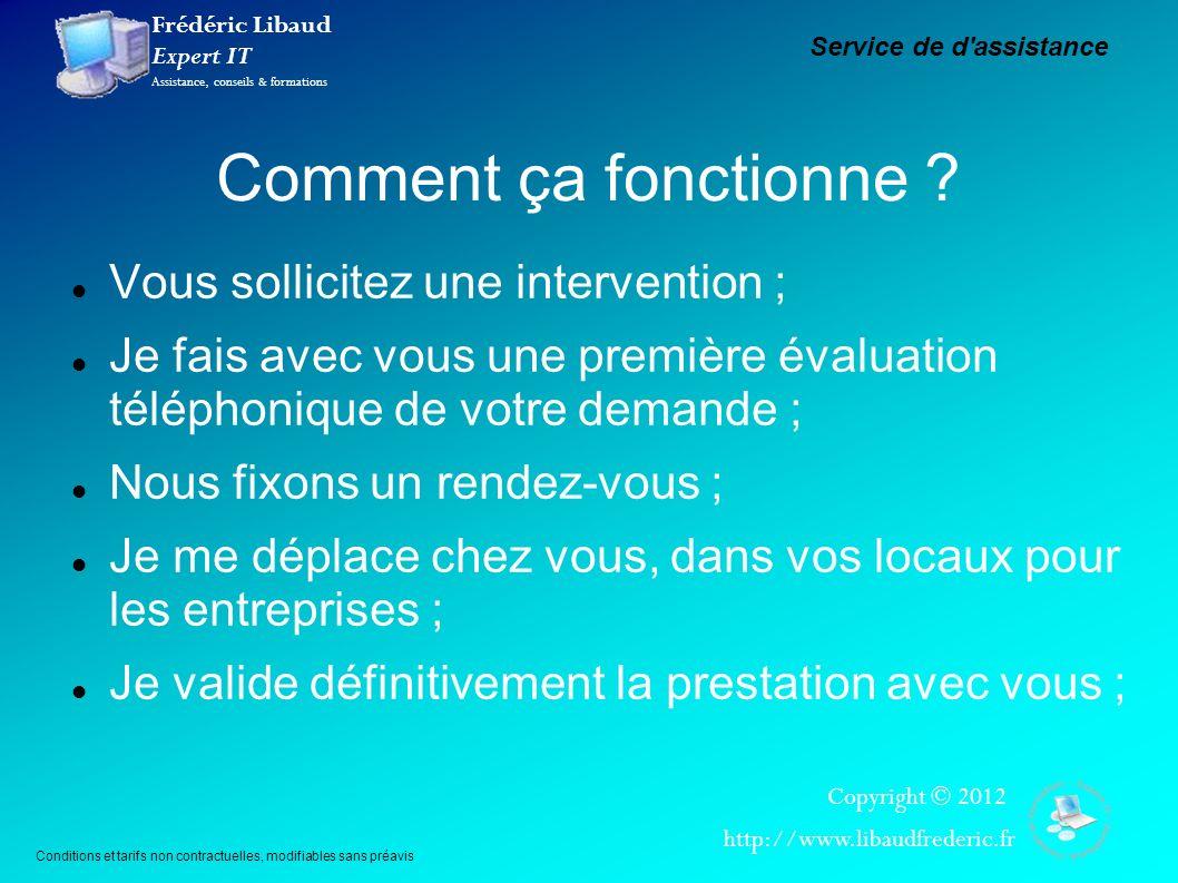 Frédéric Libaud Expert IT Assistance, conseils & formations Copyright © 2012 http://www.libaudfrederic.fr Comment ça fonctionne ? Vous sollicitez une