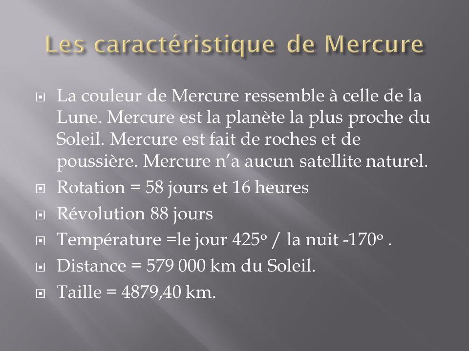 La couleur de Mercure ressemble à celle de la Lune. Mercure est la planète la plus proche du Soleil. Mercure est fait de roches et de poussière. Mercu