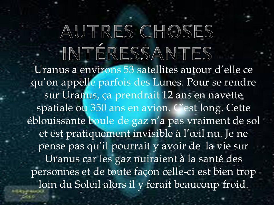 Uranus Uranus Uranus Uranus a environs 53 satellites autour delle ce quon appelle parfois des Lunes. Pour se rendre sur Uranus, ça prendrait 12 ans en