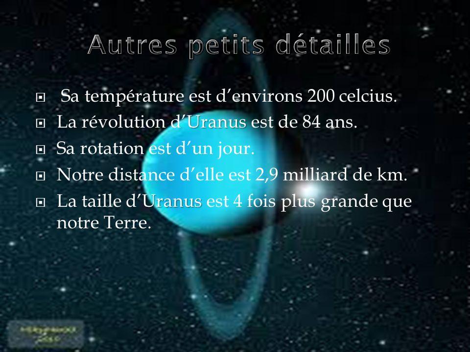 Sa température est denvirons 200 celcius. Uranus La révolution dUranus est de 84 ans. Sa rotation est dun jour. Notre distance delle est 2,9 milliard