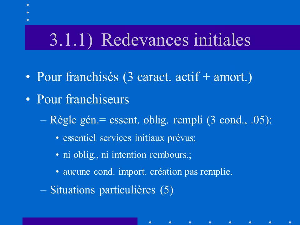 3.1.1) Redevances initiales Pour franchisés (3 caract. actif + amort.) Pour franchiseurs –Règle gén.= essent. oblig. rempli (3 cond.,.05): essentiel s