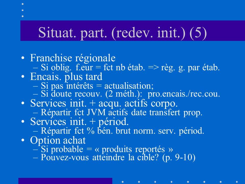 Situat. part. (redev. init.) (5) Franchise régionale –Si oblig. f.eur = fct nb étab. => règ. g. par étab. Encais. plus tard –Si pas intérêts = actuali