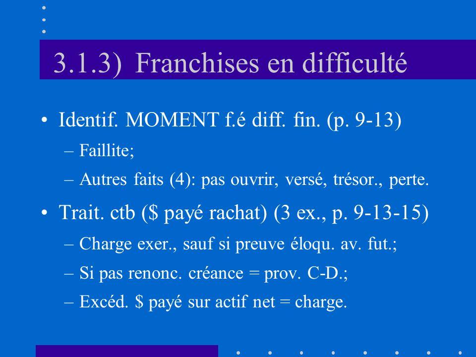 3.1.3) Franchises en difficulté Identif. MOMENT f.é diff. fin. (p. 9-13) –Faillite; –Autres faits (4): pas ouvrir, versé, trésor., perte. Trait. ctb (