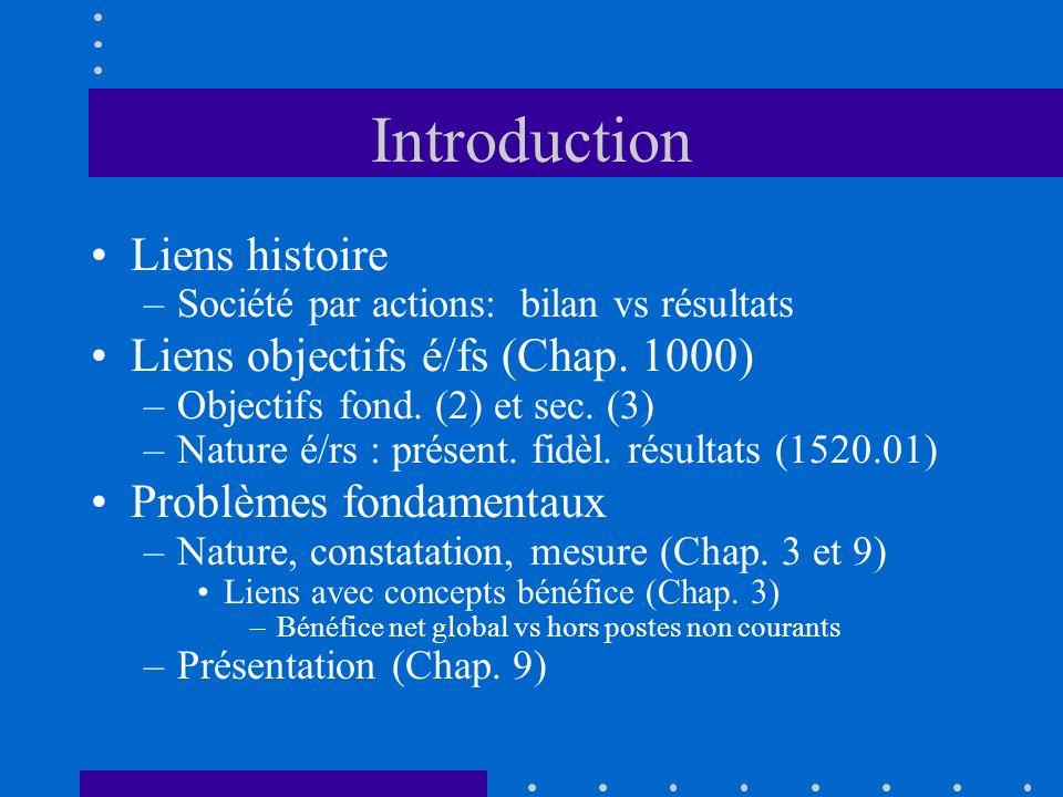 Introduction Liens histoire –Société par actions: bilan vs résultats Liens objectifs é/fs (Chap. 1000) –Objectifs fond. (2) et sec. (3) –Nature é/rs :