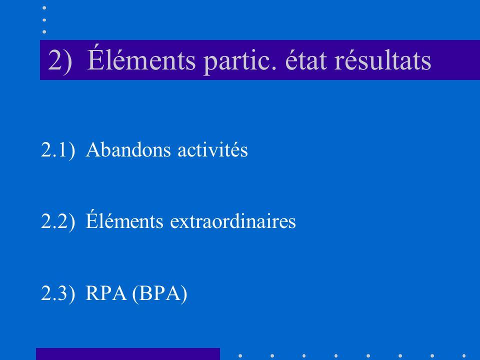 2) Éléments partic. état résultats 2.1) Abandons activités 2.2) Éléments extraordinaires 2.3) RPA (BPA)