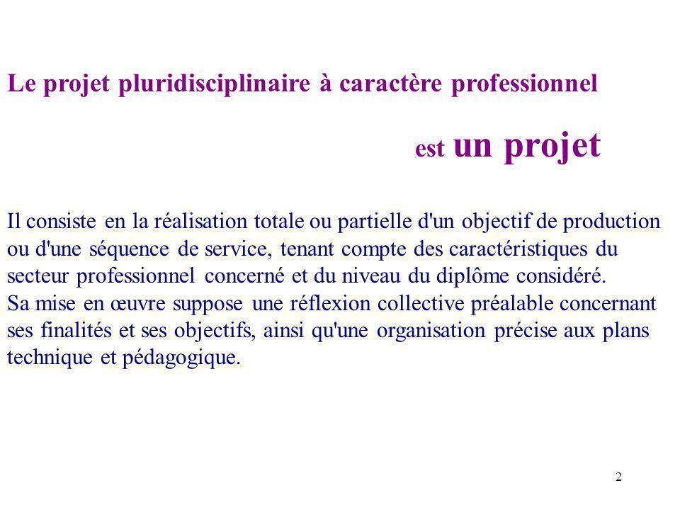 2 Le projet pluridisciplinaire à caractère professionnel est un projet Il consiste en la réalisation totale ou partielle d un objectif de production ou d une séquence de service, tenant compte des caractéristiques du secteur professionnel concerné et du niveau du diplôme considéré.