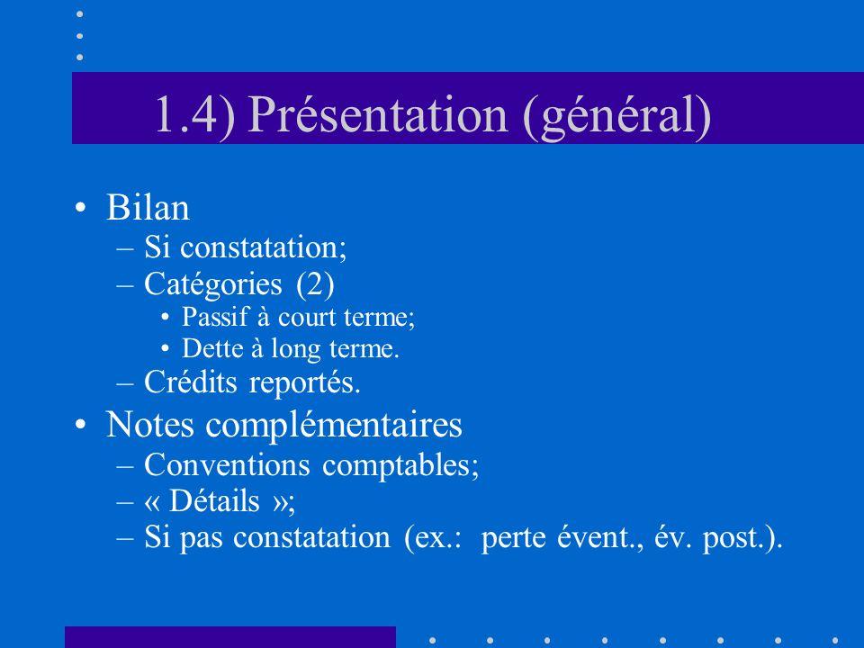1.4) Présentation (général) Bilan –Si constatation; –Catégories (2) Passif à court terme; Dette à long terme.