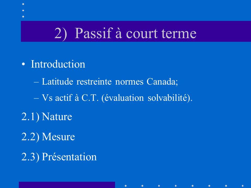 2) Passif à court terme Introduction –Latitude restreinte normes Canada; –Vs actif à C.T. (évaluation solvabilité). 2.1) Nature 2.2) Mesure 2.3) Prése