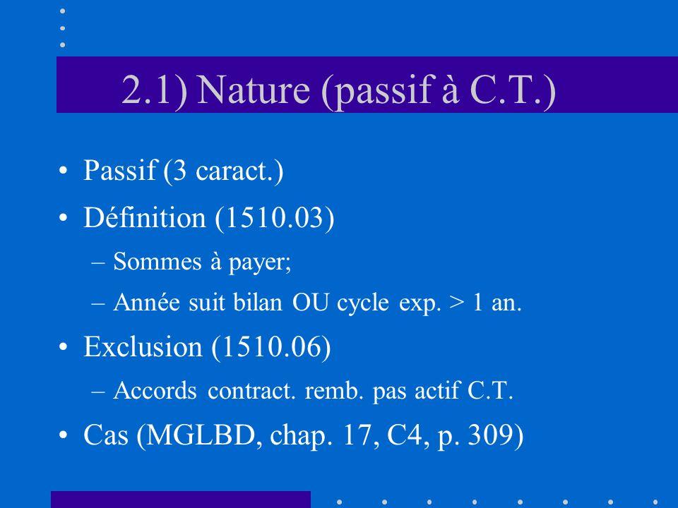 2.1) Nature (passif à C.T.) Passif (3 caract.) Définition (1510.03) –Sommes à payer; –Année suit bilan OU cycle exp.