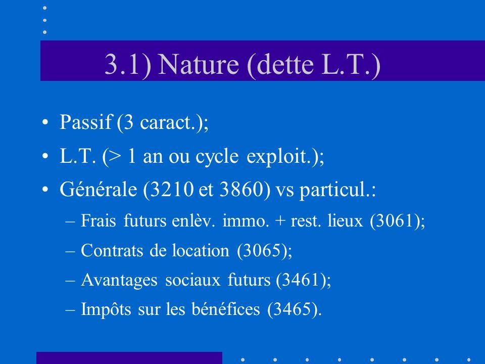 3.1) Nature (dette L.T.) Passif (3 caract.); L.T.