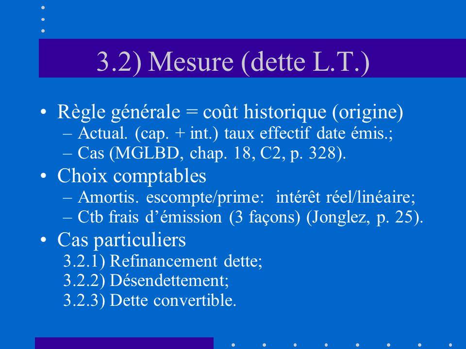 3.2) Mesure (dette L.T.) Règle générale = coût historique (origine) –Actual.