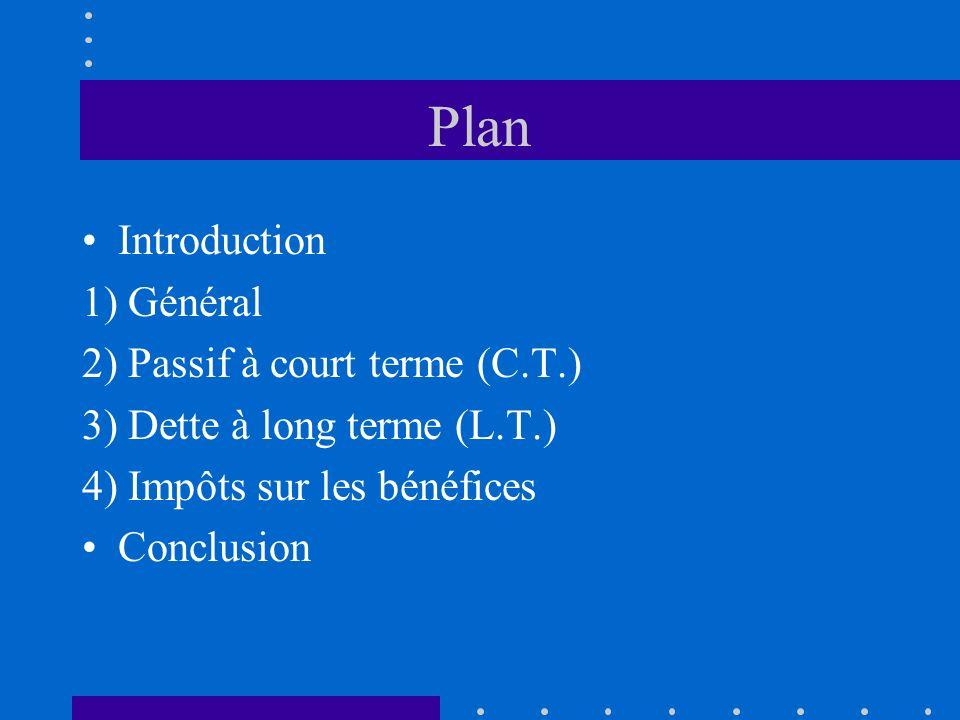 Plan Introduction 1) Général 2) Passif à court terme (C.T.) 3) Dette à long terme (L.T.) 4) Impôts sur les bénéfices Conclusion