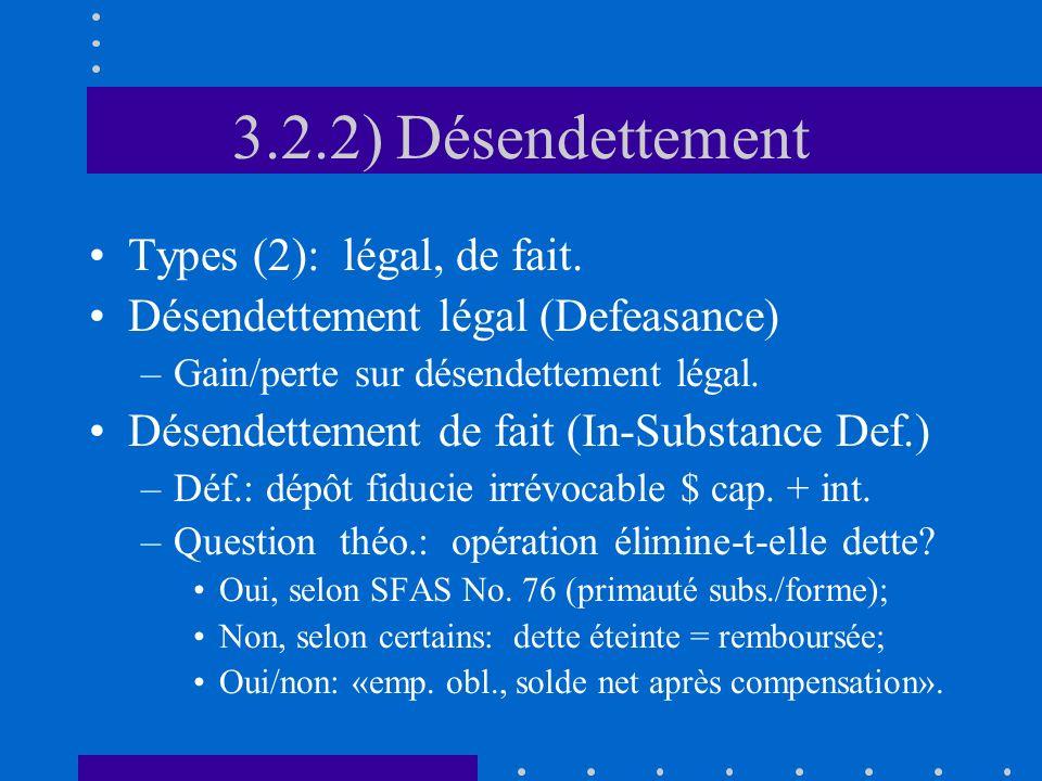 3.2.2) Désendettement Types (2): légal, de fait.