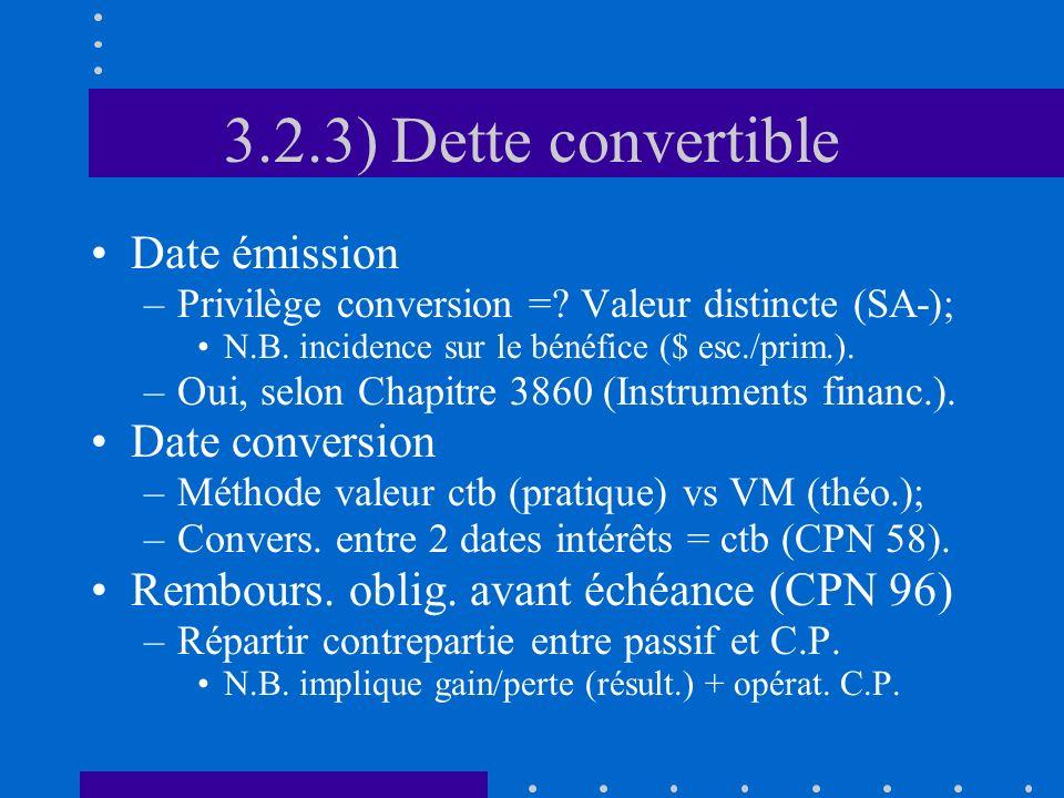3.2.3) Dette convertible Date émission –Privilège conversion =? Valeur distincte (SA-); N.B. incidence sur le bénéfice ($ esc./prim.). –Oui, selon Cha