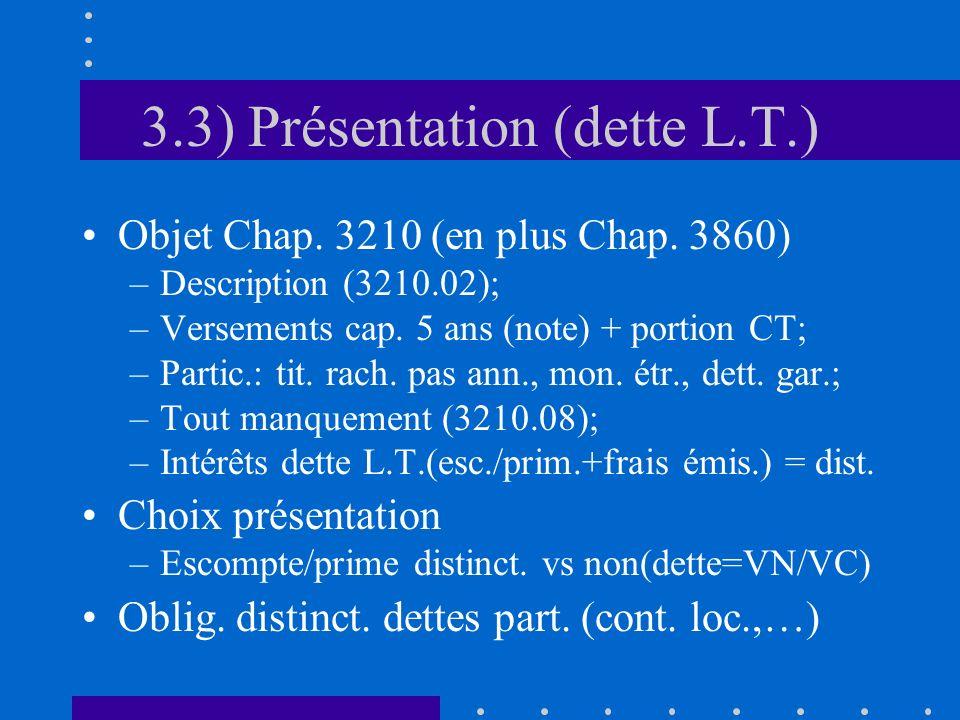3.3) Présentation (dette L.T.) Objet Chap. 3210 (en plus Chap.