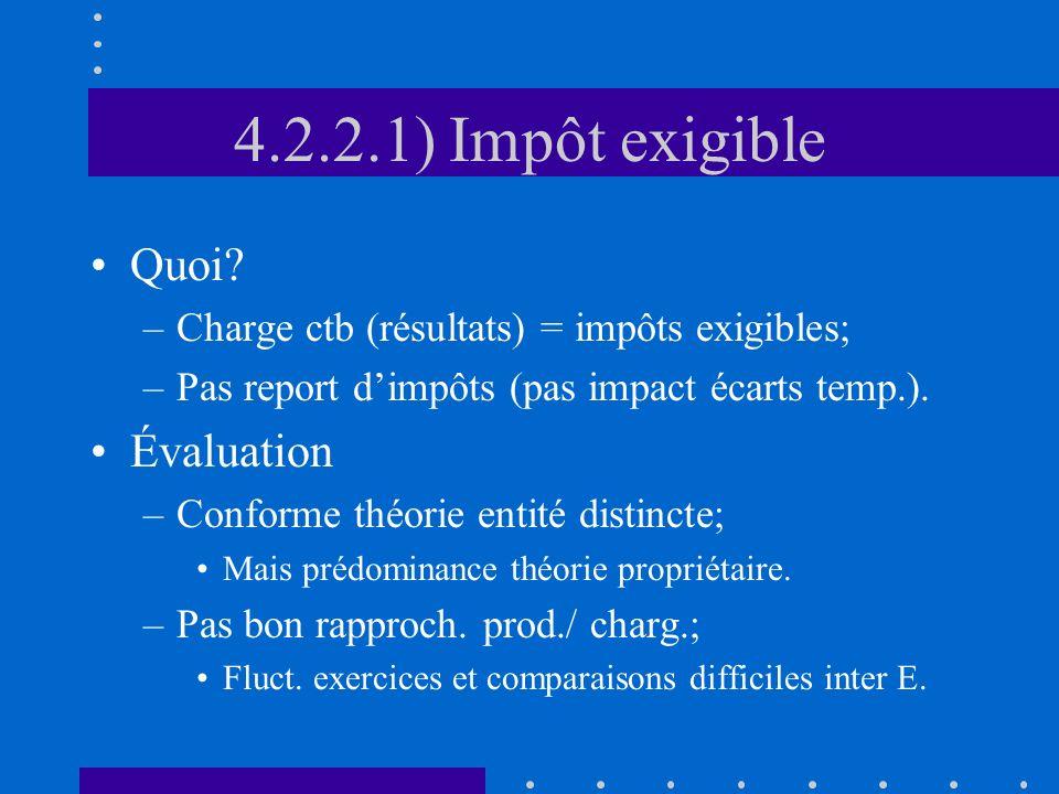 4.2.2.1) Impôt exigible Quoi.