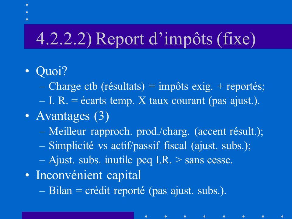 4.2.2.2) Report dimpôts (fixe) Quoi. –Charge ctb (résultats) = impôts exig.