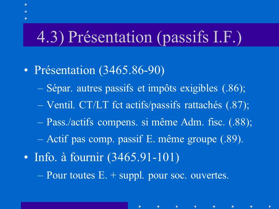 4.3) Présentation (passifs I.F.) Présentation (3465.86-90) –Sépar.