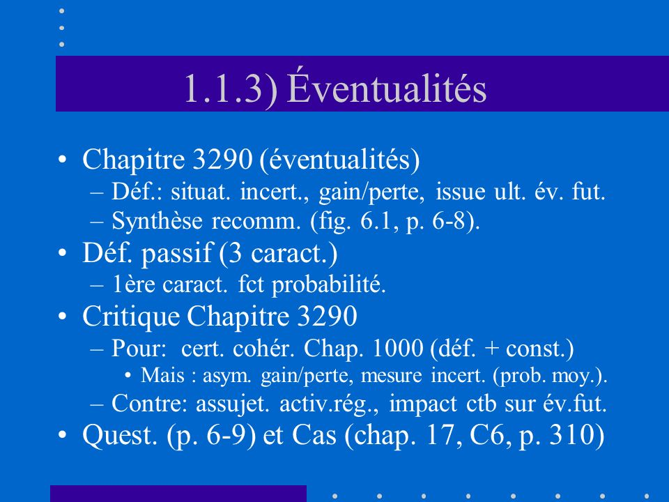 4.2.2.2) Report dimpôts (fixe) Quoi.–Charge ctb (résultats) = impôts exig.
