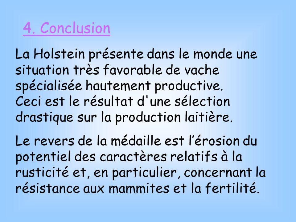 4. Conclusion La Holstein présente dans le monde une situation très favorable de vache spécialisée hautement productive. Ceci est le résultat d'une sé
