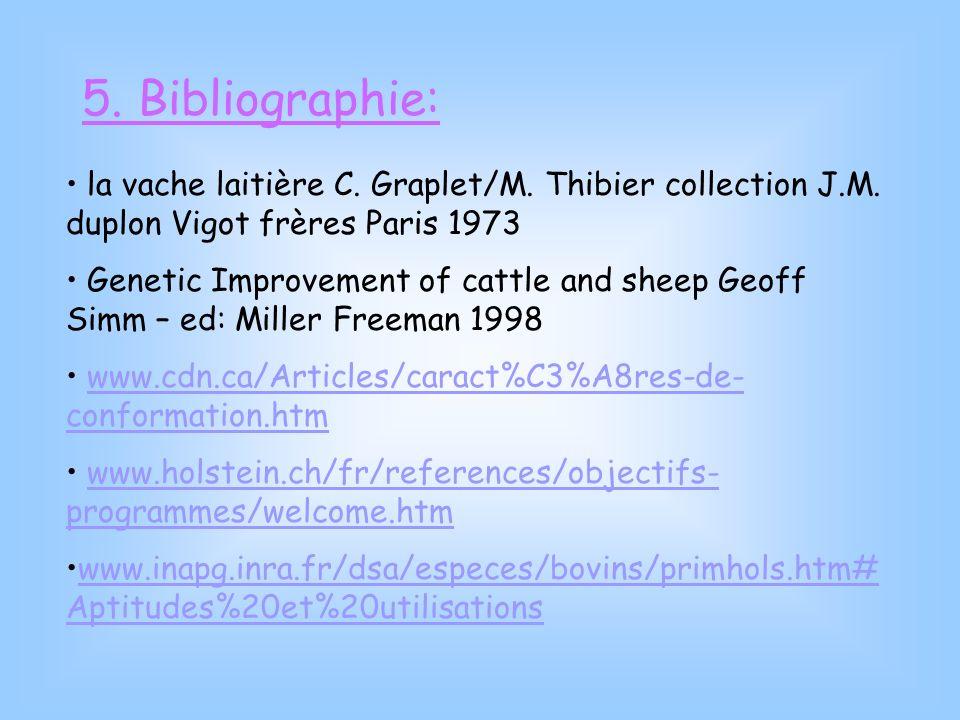 5. Bibliographie: la vache laitière C. Graplet/M. Thibier collection J.M. duplon Vigot frères Paris 1973 Genetic Improvement of cattle and sheep Geoff