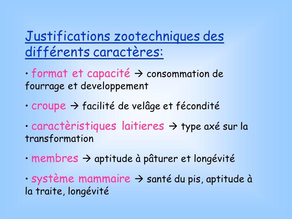 Justifications zootechniques des différents caractères: format et capacité consommation de fourrage et developpement croupe facilité de velâge et féco