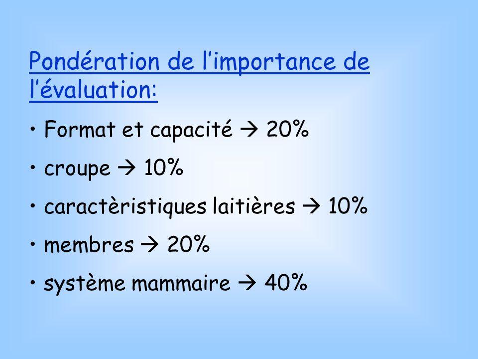 Pondération de limportance de lévaluation: Format et capacité 20% croupe 10% caractèristiques laitières 10% membres 20% système mammaire 40%