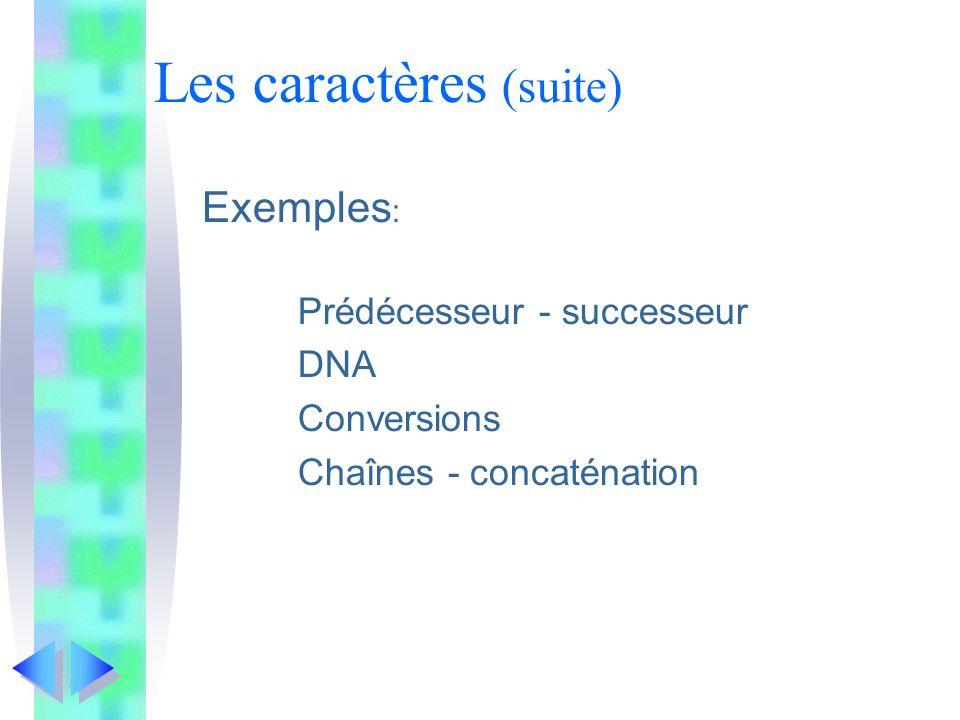 Les caractères (suite) Exemples : Prédécesseur - successeur DNA Conversions Chaînes - concaténation