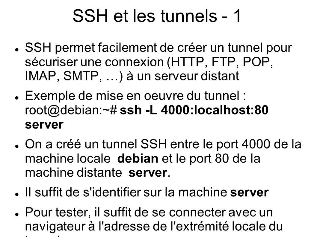 SSH et les tunnels - 2 lynx http://localhost:4000 ou bien tout autre navigateur (firefox, ie, …)http://localhost:4000 On peut constater que l on se connecte effectivement et on peut aisément vérifier, grâce à un tcpdump approprié, que le trafic utilise le tunnel SSH Il faudra bien sûr utiliser le client adapté au protocole (client de messagerie,...)